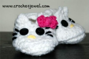 Hello Kitty Crochet Newborn Shoes Free Pattern