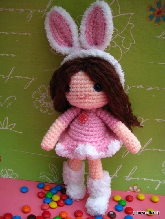 rose girl bunny free amigurumi pattern