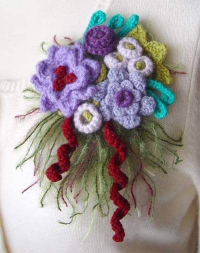 33.crochet flower branch tutorial easy free