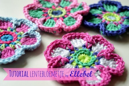 4.five petal free crochet flower pattern