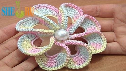 45.3d spiral 8 petal free crochet flower
