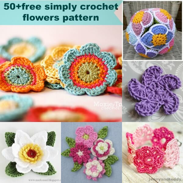 50+free simply crochet flower patterns by jennyandteddy