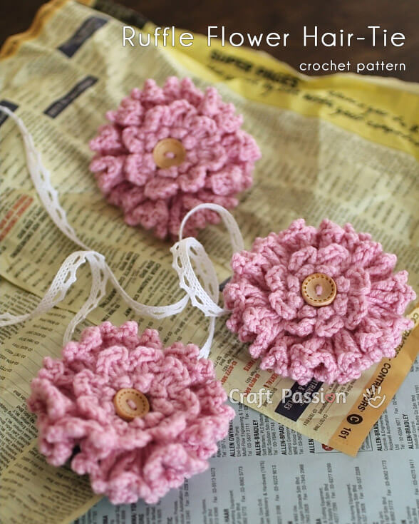 8.crochet-2 layer ruffle-flower-hair-tie free pattern