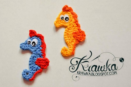 11.cute seahorse ocean creature crochet applique pattern free