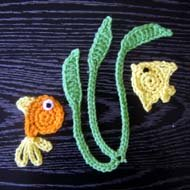 16. fish applique and seaweed crochet