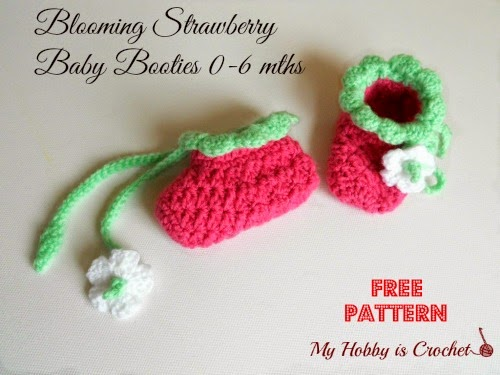 24.blooming strawberry baby booties free crochet pattern