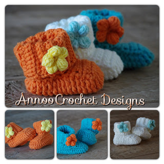 25.spring flower crochet baby bootie