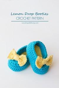 34 bow Lemon Drop Baby Booties Crochet Pattern Small 1