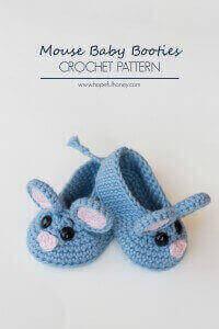 36.Field Mouse Baby Booties Crochet Pattern 2