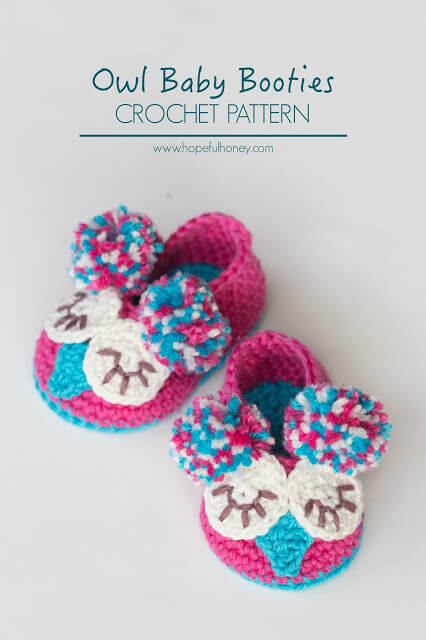 40.Owl Baby Booties Crochet Pattern 8