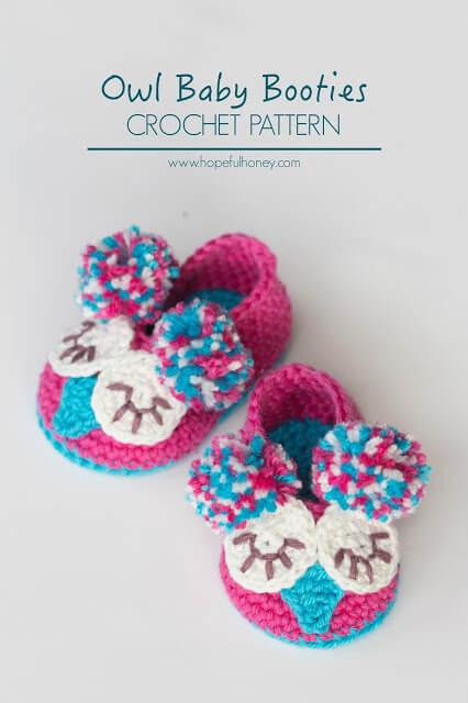 40.Owl Baby Booties Crochet Pattern 8