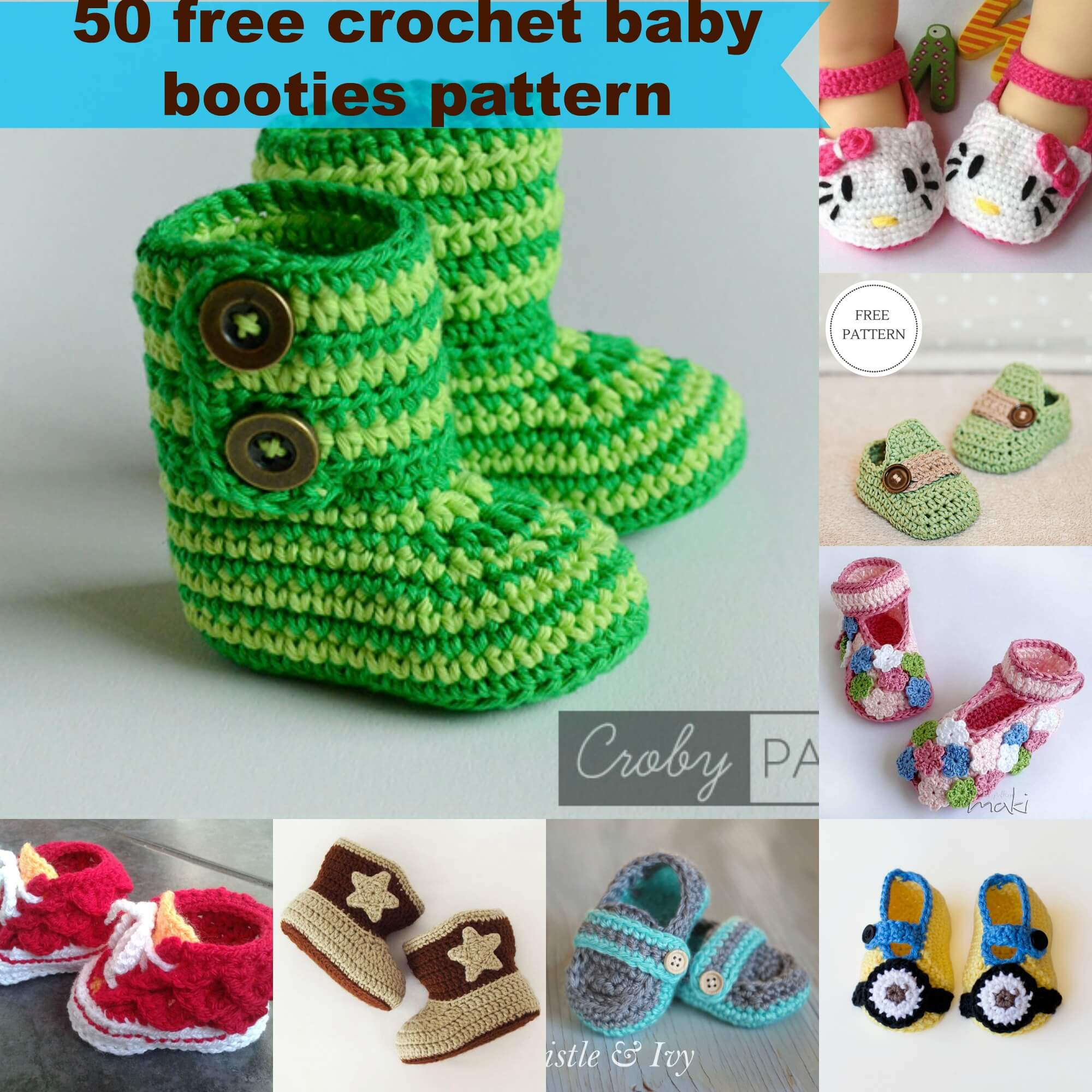 50 free crochet baby booties pattern by jennyandteddy