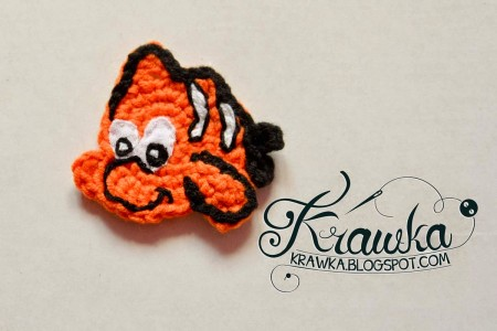6. cute crochet nemo fish applique free pattern