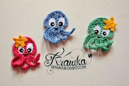 7.easy crochet octopus applique sea creature pattern