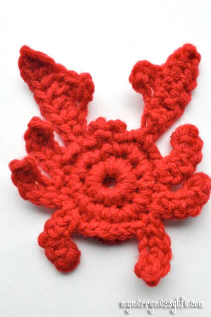 9. a cute crawly crab crochet applique tutorial