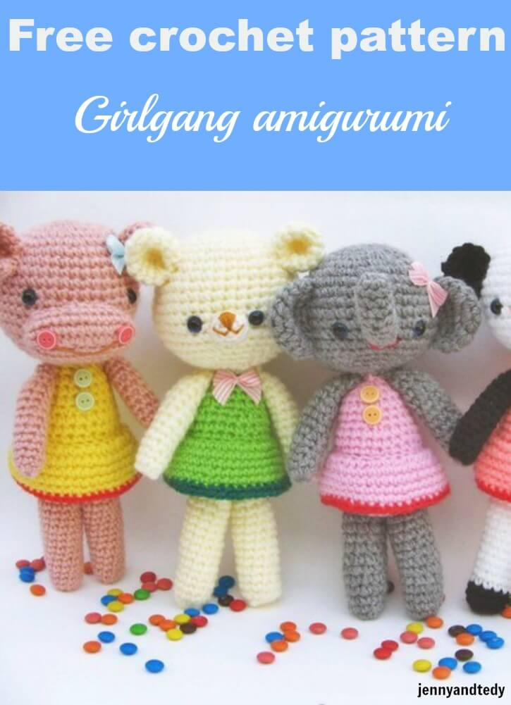 free crochet amigurumi pattern girlgang by jennyandteddy