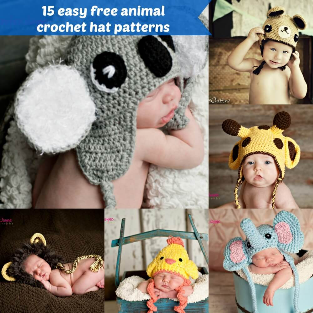 15 easy free animal crochet hat pattern by jennyandteddy
