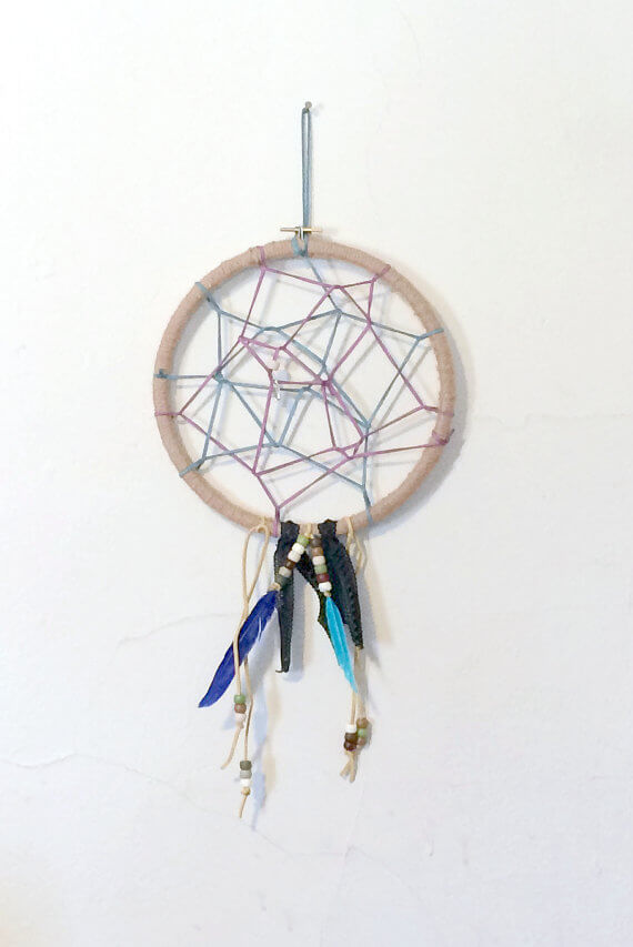 Blue Feather And Purple Suede Dream Catcher
