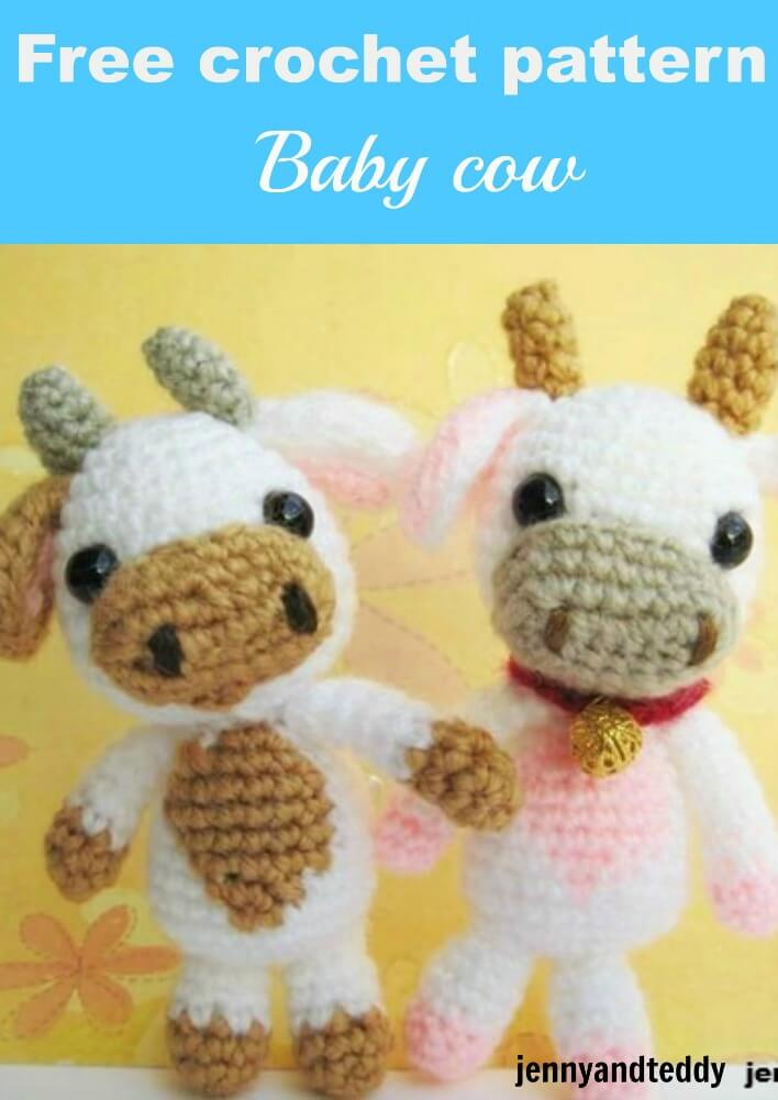 free crochet amigurumi pattern baby cow by jennyandteddy