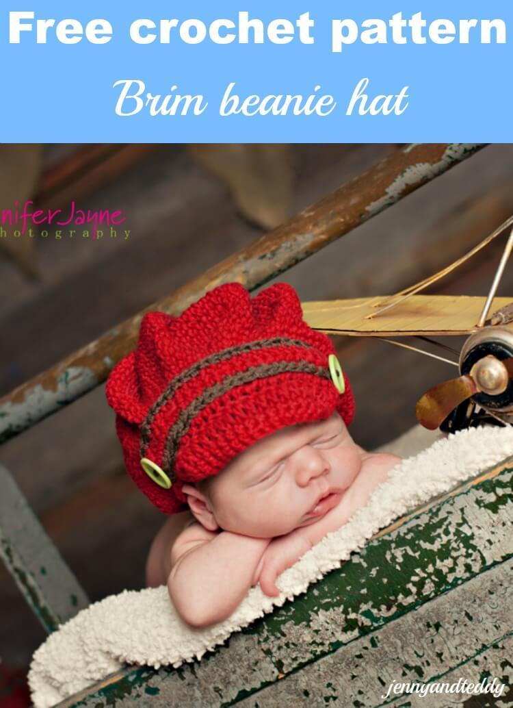 brim beanie crochet hat free pattern by jennyandteddy