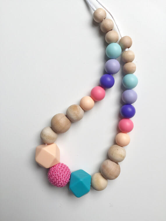 teething necklace handmade organic