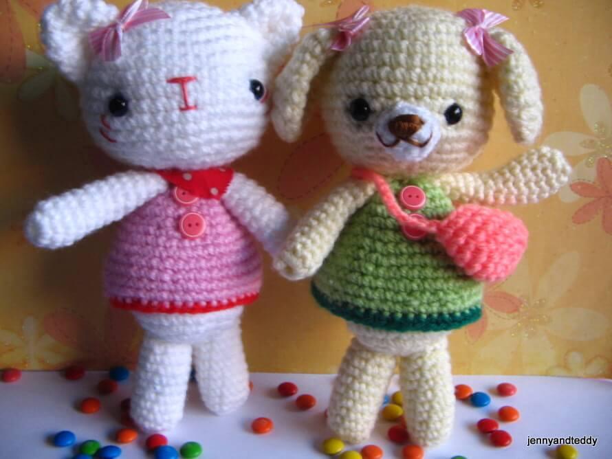 Emma Sweet Little Bear And Emily Kitten Free Amigurumi Crochet Pattern