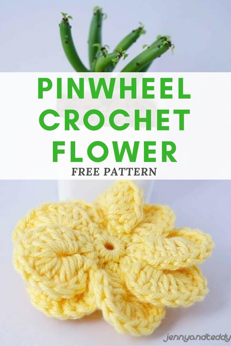 IMAGE 176 - PINWHEEL CROCHET FLOWER FREE PATTERN