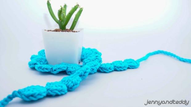 blue shell stitch easy free crochet headband pattern