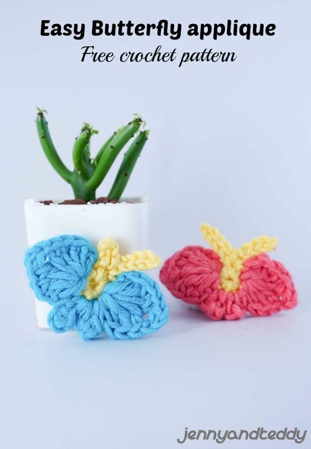 easy butterfly crochet applique free pattern