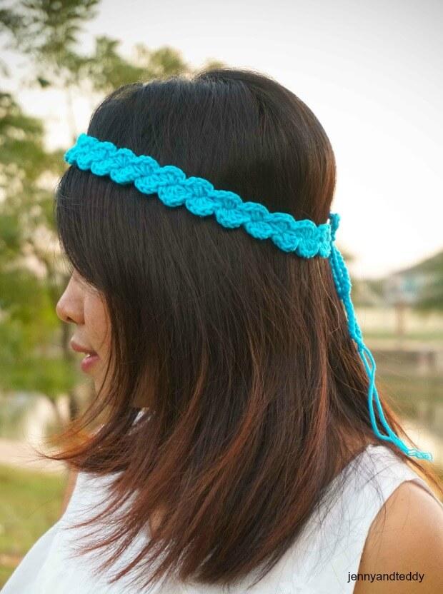 easy simple shell stitch crochet headband free pattern