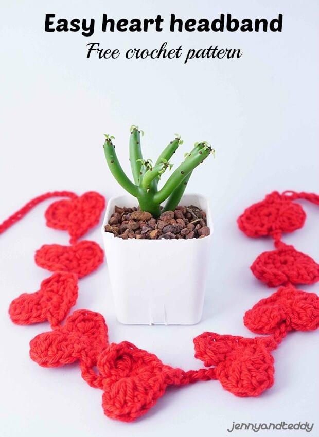 easy tiny small crochet heart headband free pattern by jennyandteddy