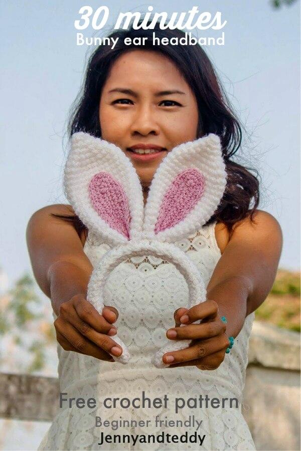 30 Minute Bunny Ear Headband Free Crochet Pattern
