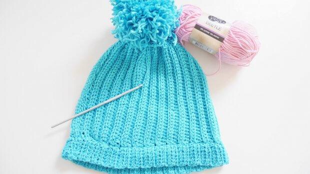 easy ribbed crochet beanie hat free crochet pattern