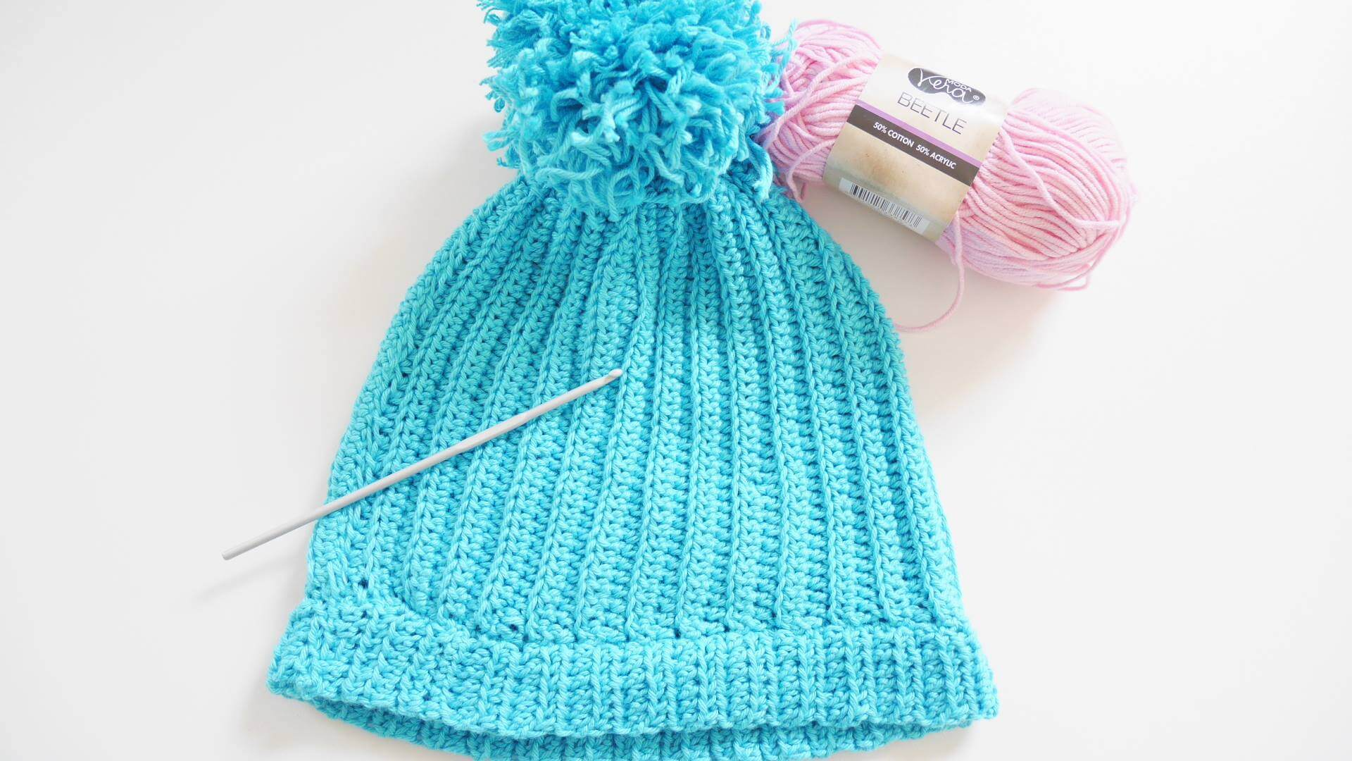 The Easiest Ribbed Blue Beanie Crochet Hat Free Pattern