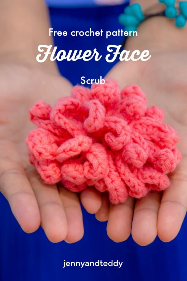 free crochet pattern easy flower face scrub for beginner how to tutorial
