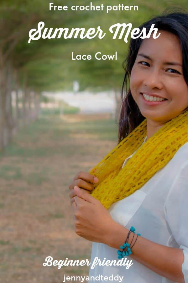 free crochet pattern easy summer mesh lace cowl for beginner by jennyandteddy