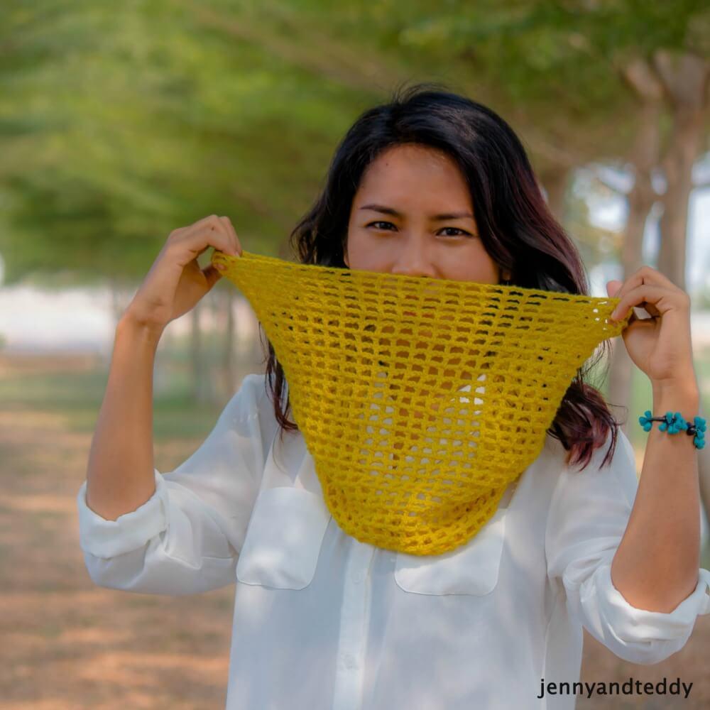 mesh cowl free crochet pattern