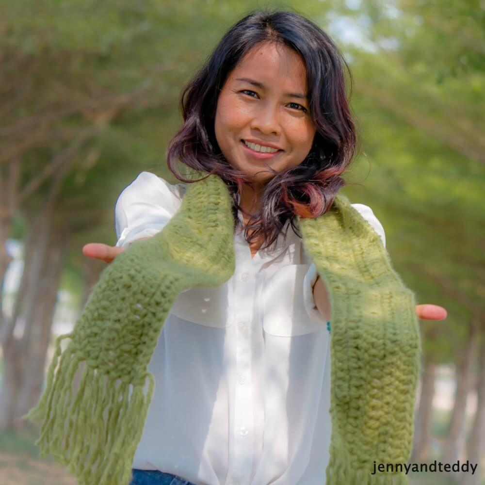 quick and easy double crochet scarf free crochet pattern