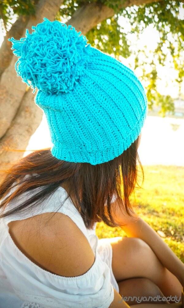 super easy ribbed crochet beanie hat free pattern