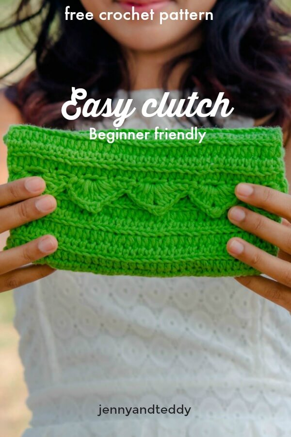free crochet pattern easy clutch purse ribbed stitch beginner friendly