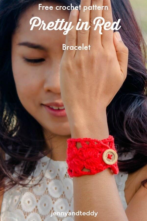 free crochet pattern prett in red bracelet by jennyandteddy