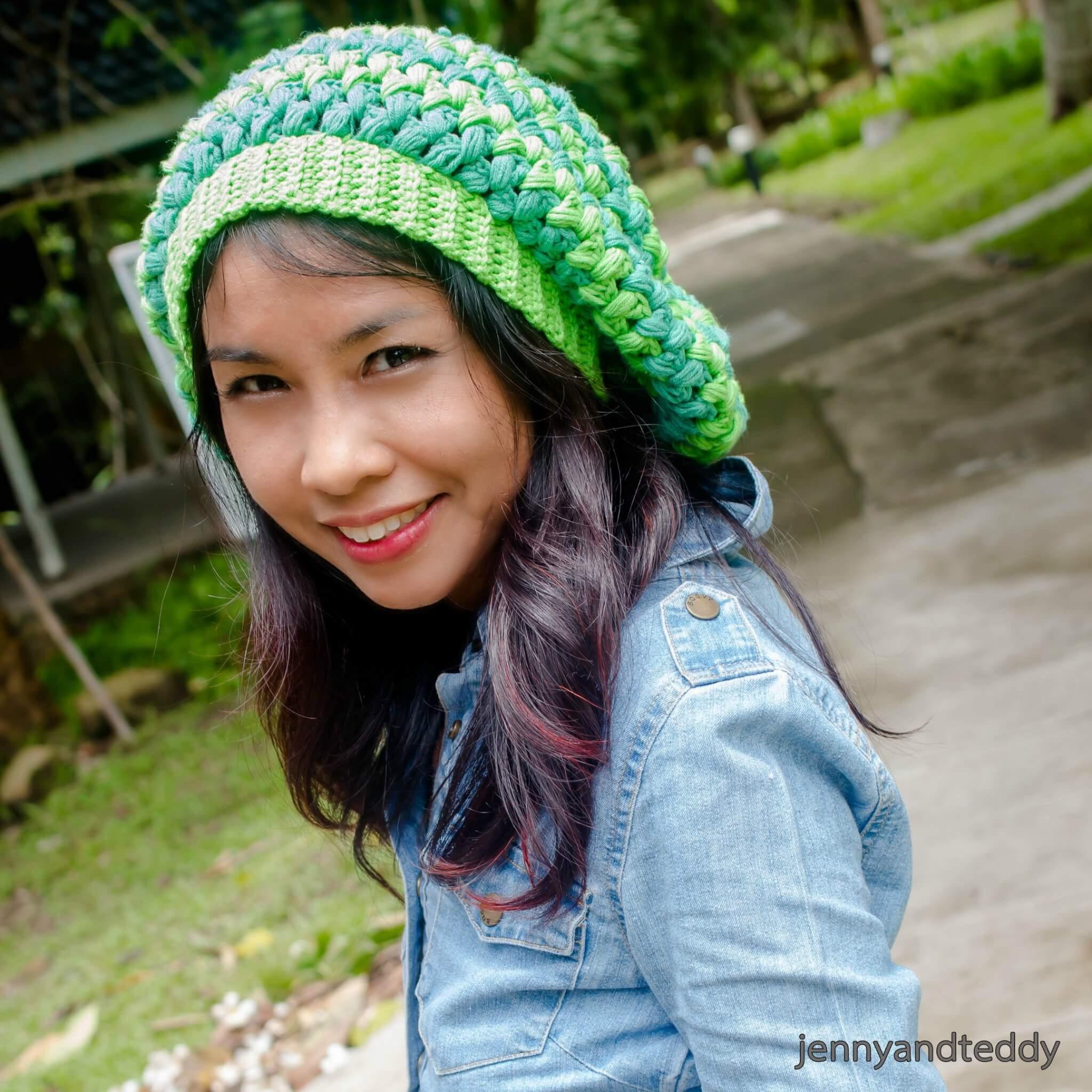 a puff stitch slouchy beanie hat free crochet pattern