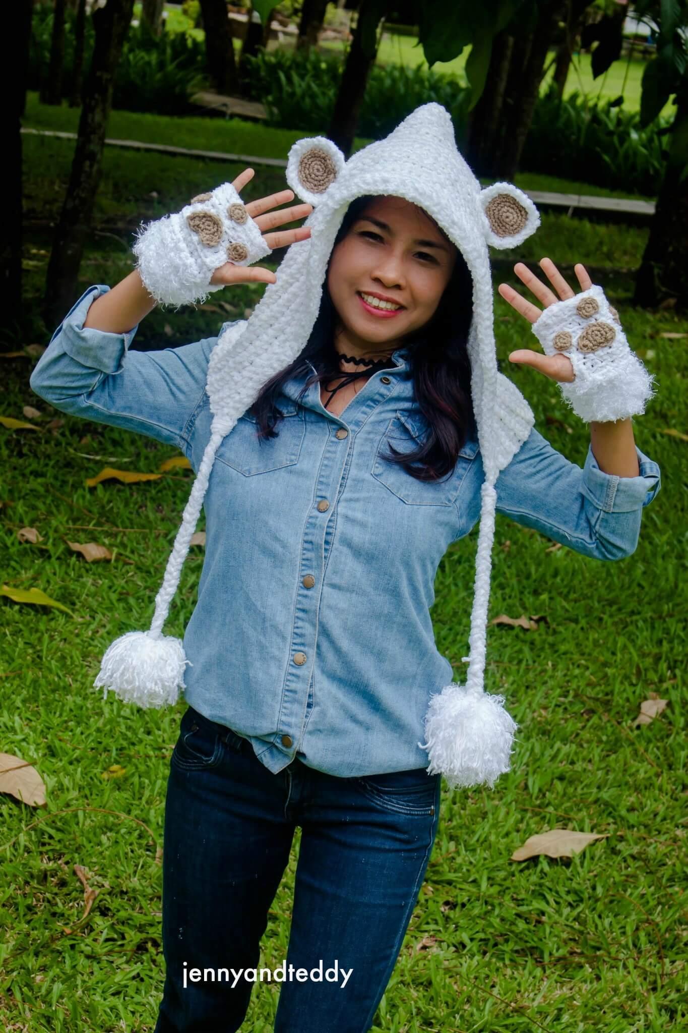 Teddy Bear Hoodie Crochet Hat Free Pattern Jennyandteddy