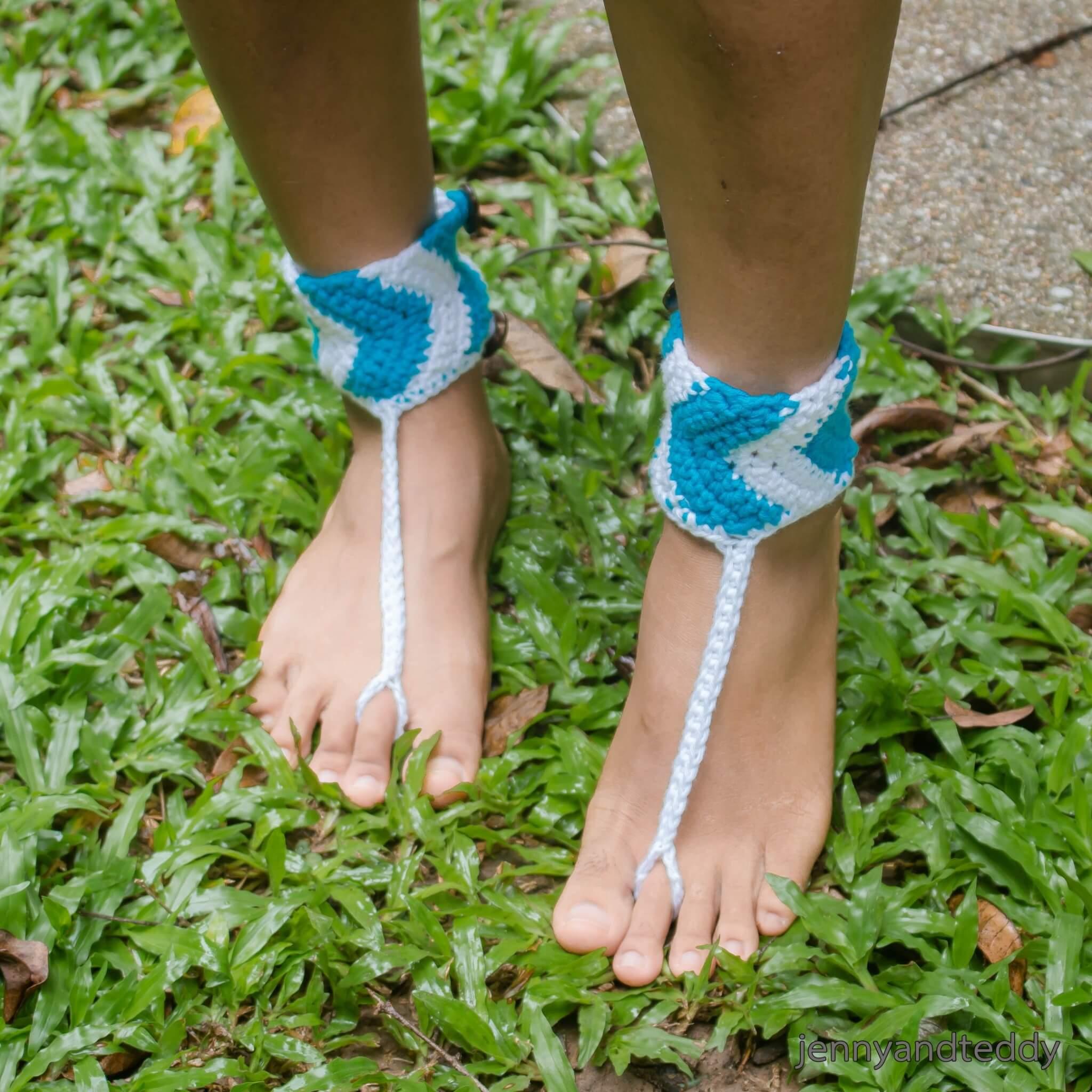 chevron crochet barefeet sandal free pattern