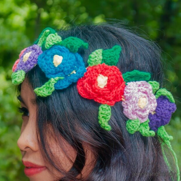 crochet flowers headband free pattern