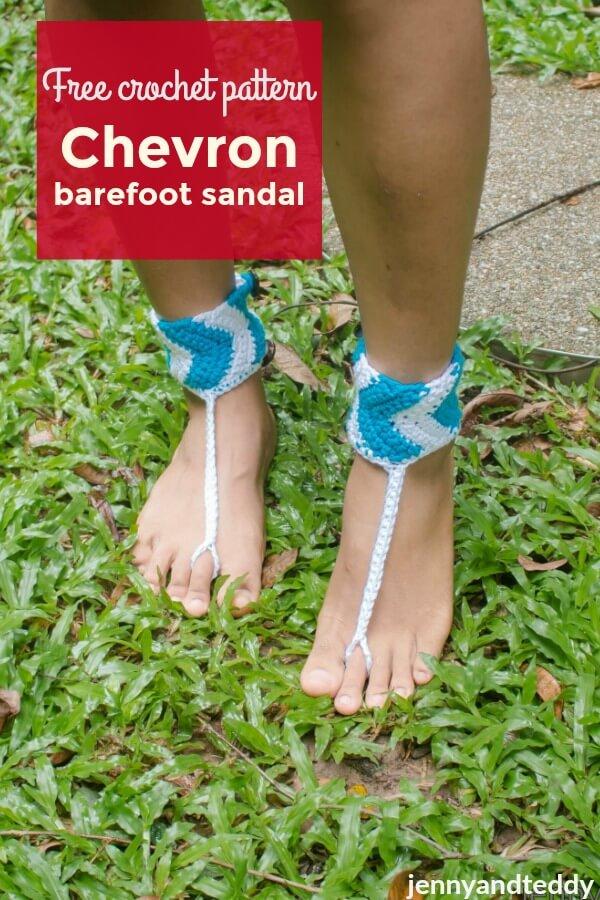 Chevron Crochet Barefoot Sandal Free Pattern