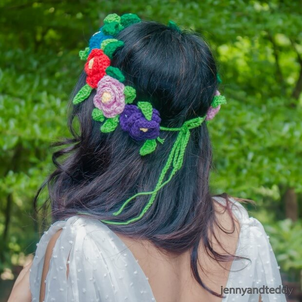 free crochet pattern flowers crown