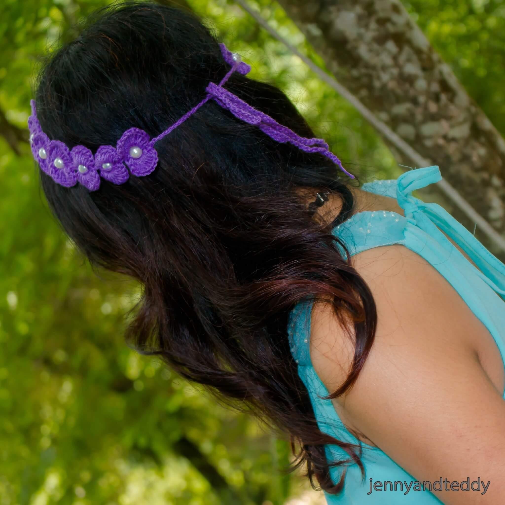 pretty scallop beaded crochet headband free pattern