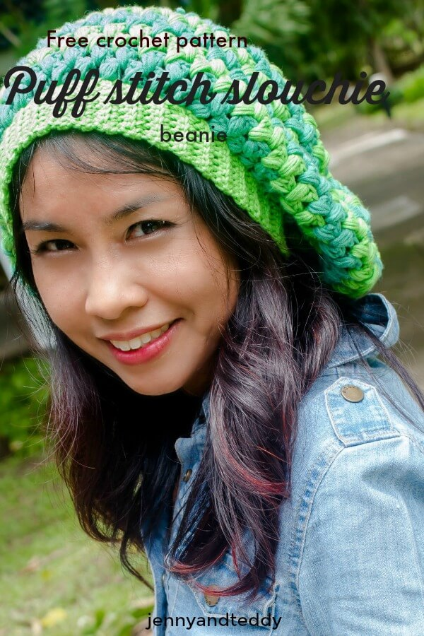 75e88edb67b puff stitch slouchie beanie hat free crochet paattern by jennyandteddy