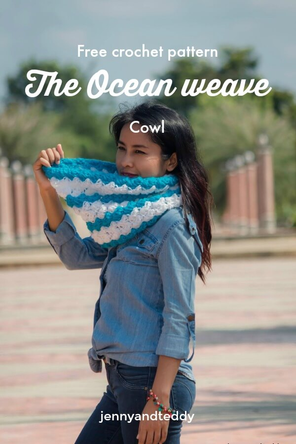 Free and easy crochet pattern the ocean weave cowl for beginner